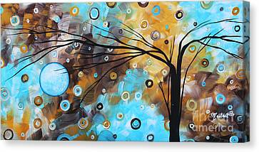 Abstract Painting Chocolate Brown Whimsical Landscape Art Baby Blues By Madart Canvas Print by Megan Duncanson
