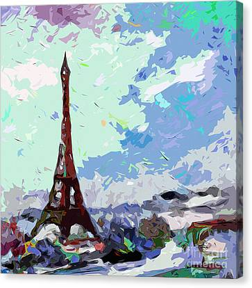 Abstract Paris Memories In Blue Canvas Print by Ginette Callaway