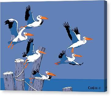 Sea Birds Canvas Print - abstract Pelicans seascape tropical pop art nouveau 1980s florida birds large retro painting  by Walt Curlee