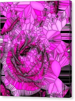 Abstract Pink Rose Mosaic Canvas Print by Saundra Myles