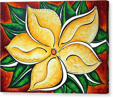 Abstract Pop Art Yellow Plumeria Flower Tropical Passion By Madart Canvas Print by Megan Duncanson