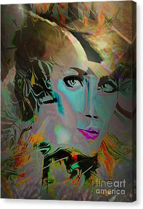 Abstract Portrait Of A Blue Lady Canvas Print by Doris Wood