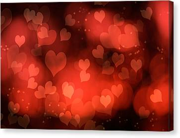 Abstract Red Hearts Canvas Print