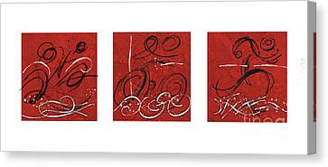 Abstract Red Triathlon Triptych Canvas Print