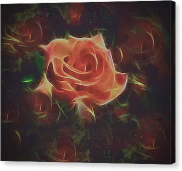 Abstract Rose And Buds Digital Painting Canvas Print by Georgeta Blanaru