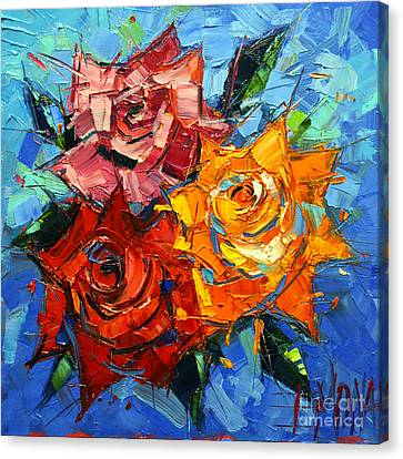 Abstract Expressionist Canvas Print - Abstract Roses On Blue by Mona Edulesco