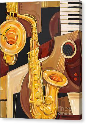 Piano Canvas Print - Abstract Saxophone by Paul Brent