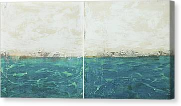 Sun Rays Canvas Print - Abstract Seascape 02/14 Diptych by Filippo B