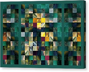 Abstract Squares Triptych Gentle Green Canvas Print by Irina Sztukowski