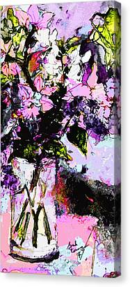 Abstract Still Life In Lavender Canvas Print by Ginette Callaway