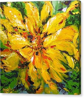 Abstract Sunflower Canvas Print by Lori Ippolito