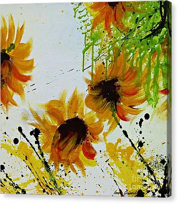 Canvas Print featuring the painting Abstract Sunflowers by Ismeta Gruenwald
