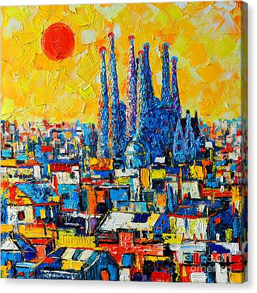 Yellow Building Canvas Print - Abstract Sunset Over Sagrada Familia In Barcelona by Ana Maria Edulescu