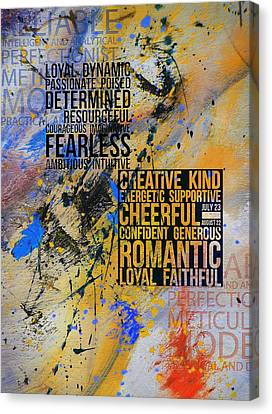 Hebrew Canvas Print - Abstract Tarot Art 018 by Corporate Art Task Force