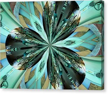 Abstract - Teal - Aqua - Four Canvas Print by Kathy K McClellan