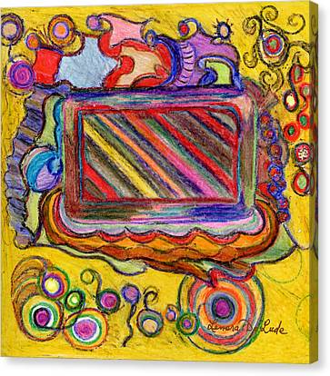 Canvas Print featuring the drawing Abstract Television And Shapes by Lenora  De Lude