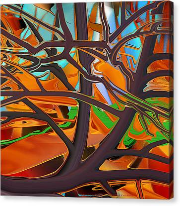 Abstract - Tree In Autumn Canvas Print by rd Erickson
