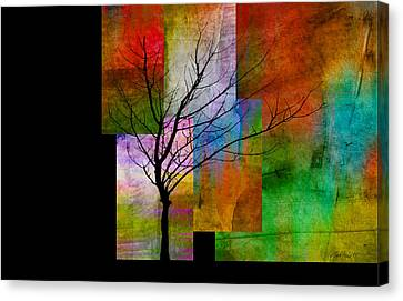 abstract- trees - Color Blocks with Tree Canvas Print by Ann Powell
