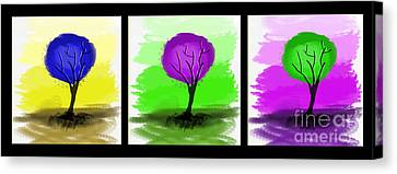 Abstract Trees Tryptich Canvas Print by Art Photography