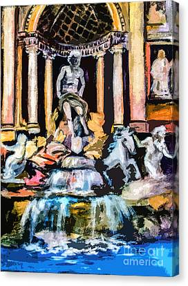 Abstract Trevi Fountain Rome Italy Canvas Print by Ginette Callaway