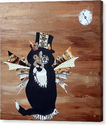 Steampunk Style Cat Art Tuxedo Cat Abstract Cat Painting Canvas Print