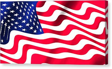 Abstract U S Flag Canvas Print by Daniel Hagerman