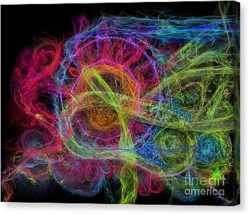 Canvas Print featuring the digital art Abstract Virus Budding Painterly 1 by Russell Kightley