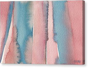 Abstract Watercolor Painting - Coral And Teal Blue Wide Stripes Canvas Print