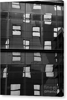 Abstract Window Reflections - Nyc Bw Canvas Print by Dave Gordon