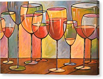 Abstract Wine Art ... Whites And Reds Canvas Print by Amy Giacomelli