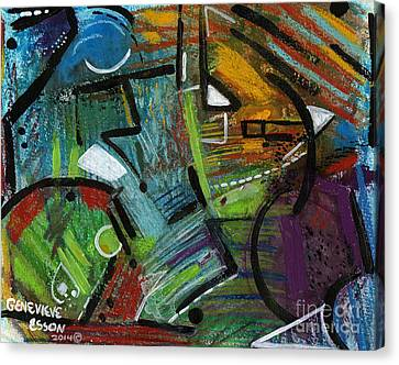 Abstract With Black Lines Canvas Print