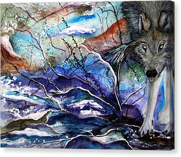 Canvas Print featuring the painting Abstract Wolf by Lil Taylor