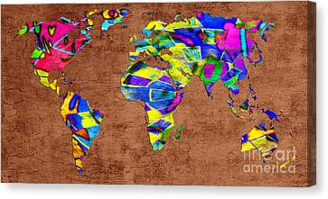 Abstract World Map - A Wide World Of Color - One Canvas Print by Andee Design