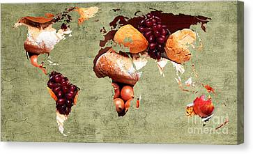 Abstract World Map - Harvest Bounty - Farmers Market Canvas Print by Andee Design