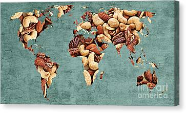Abstract World Map - Mixed Nuts - Snack - Nut Hut Canvas Print by Andee Design