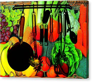 Abstracted Kitchen Scene Canvas Print by Elaine Plesser