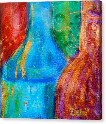 Red Leaf Canvas Print - Abstraction Of Bottles by Debi Starr