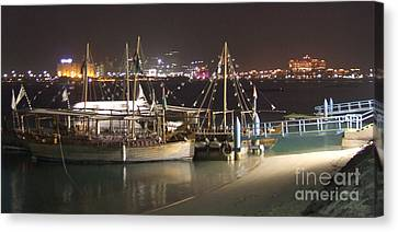 Canvas Print featuring the photograph Abu Dhabi At Night by Andrea Anderegg