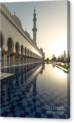 Abu Dhabi Grand Mosque At Sunset Canvas Print by Matteo Colombo