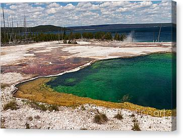 Abyss Pool And Yellowstone Lake Canvas Print by Sue Smith