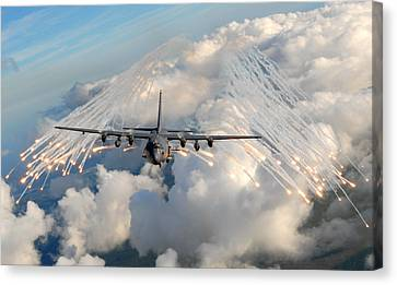 Ac-130h-u Gunship Aircraft Canvas Print by Celestial Images