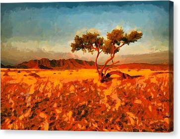 Canvas Print featuring the digital art Acacia Tree In Namibia by Kai Saarto
