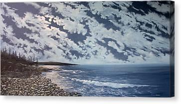 Acadia Moon Canvas Print by Ken Ahlering