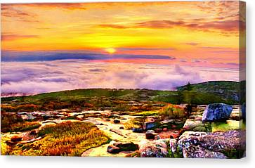 Rocky Maine Coast Canvas Print - Acadia National Park Cadillac Mountain by Bob and Nadine Johnston