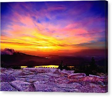 Nadine Canvas Print - Acadia National Park Cadillac Mountain Sunrise Forsale by Bob and Nadine Johnston