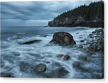 Rocky Maine Coast Canvas Print - Acadia's First Light by Chad Tracy