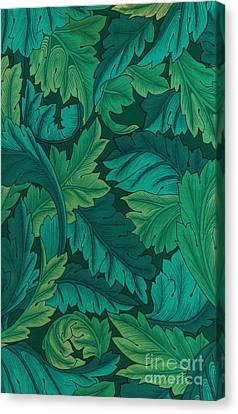 Acanthus Leaves In Jade Green Canvas Print by Melissa A Benson