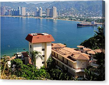 Acapulco Bay Architecture Canvas Print by Linda Phelps