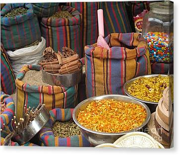 Canvas Print featuring the photograph Acco Acre Israel Shuk Market Spices Stripes Bags by Paul Fearn