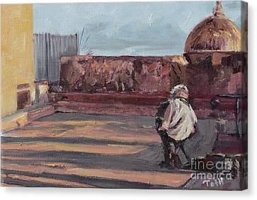 Accordion Man Of Old San Juan Canvas Print